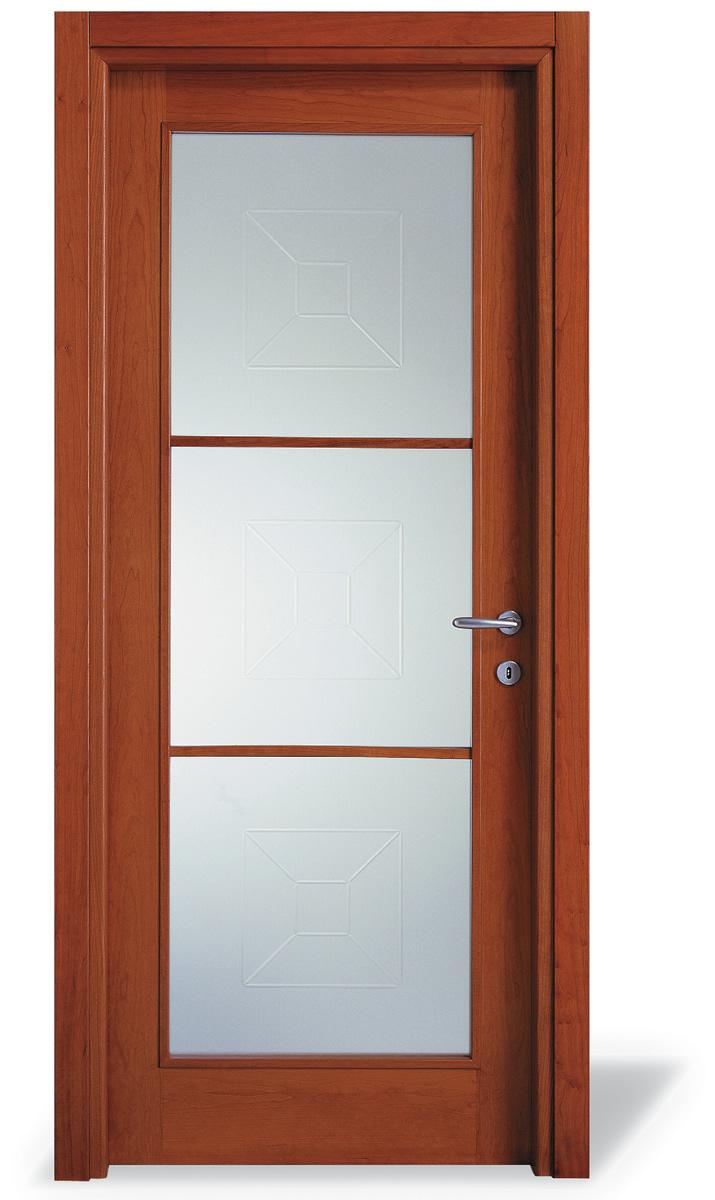 Porta interna V1 ciliegio - inglese 3 vetri - Prof. 4