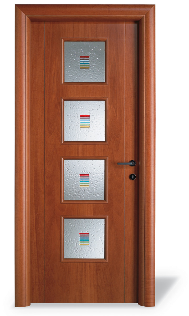 Porta interna V3 tanganika tinta ciliegio - 4 vetri + incisione