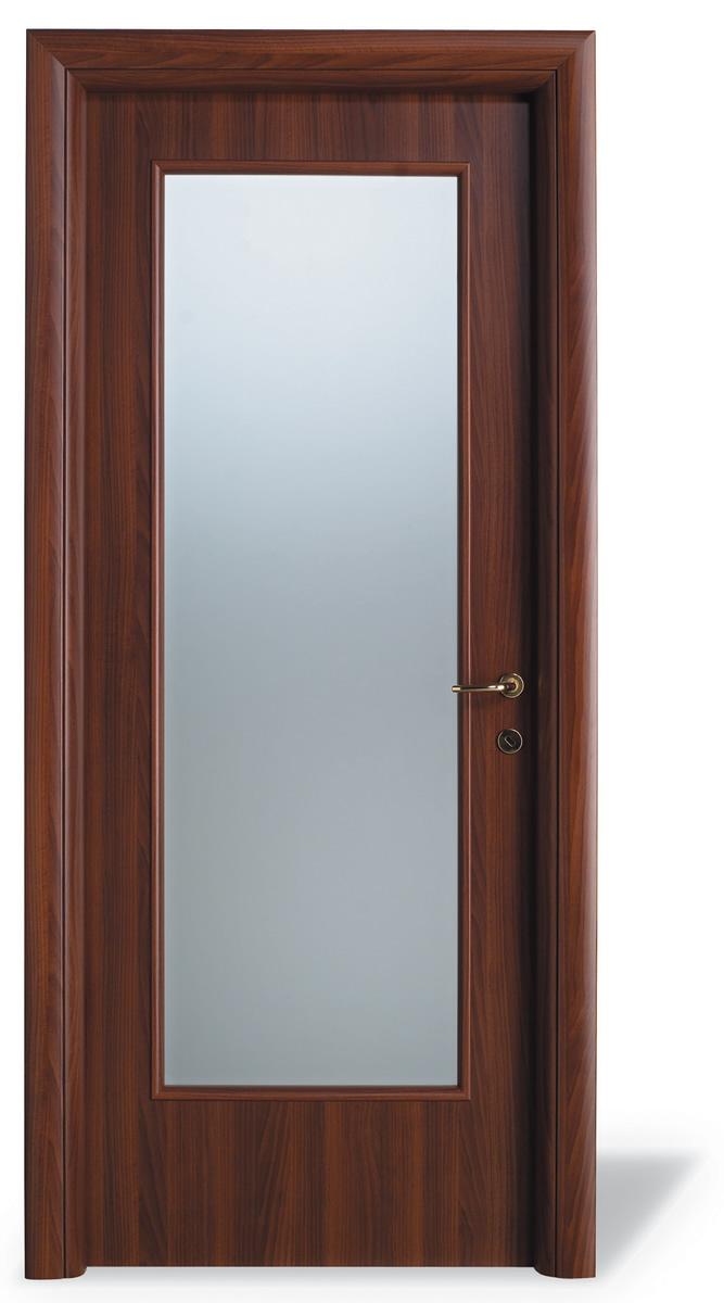 Porta interna H15 laminatino finitura noce nazionale - vetro