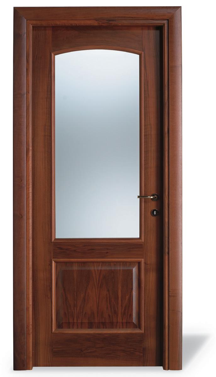 Porta interna Q noce nazionale - vetro