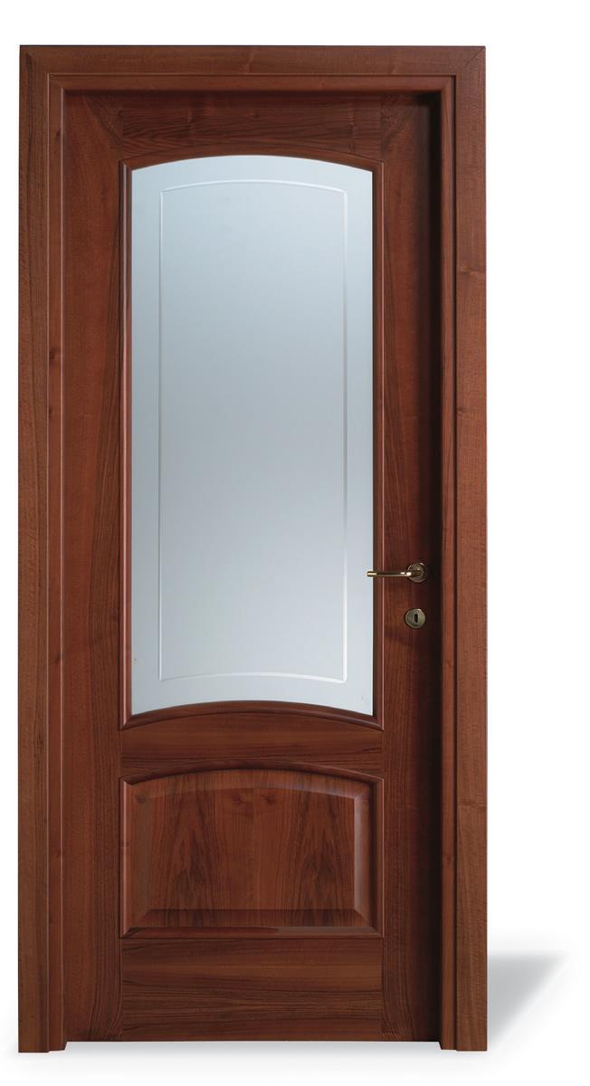 Porta interna QD noce nazionale - vetro