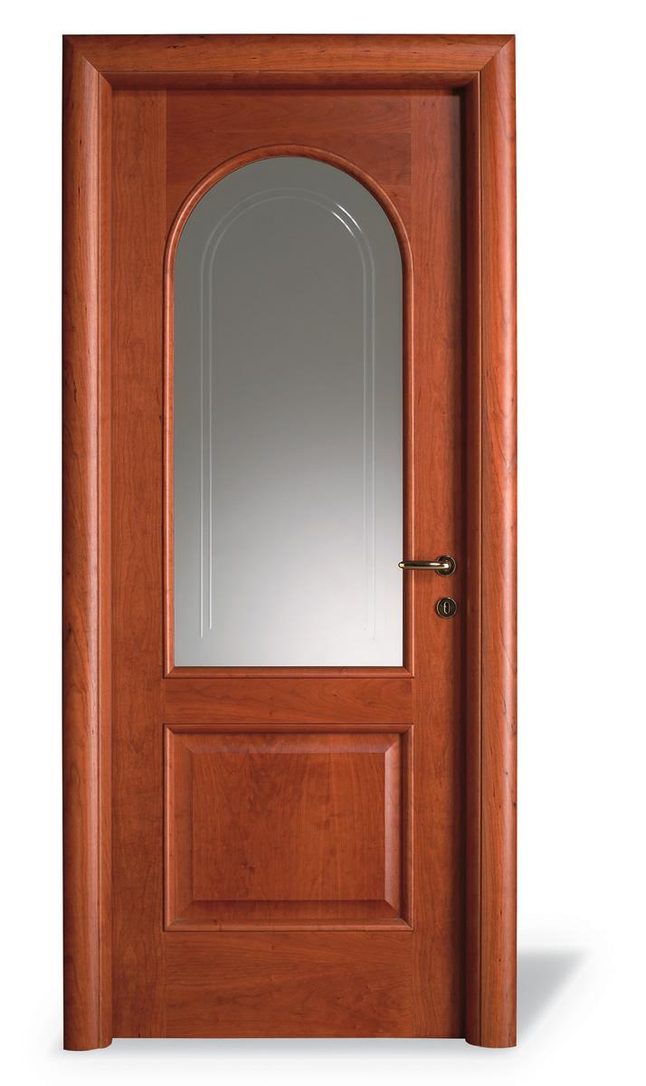 Porta interna L tondo ciliegio - Vetro