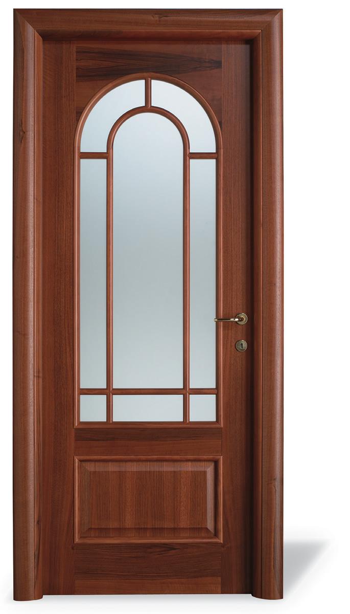 Porta interna H12T tondo noce nazionale - Inglese tondo 8 v.