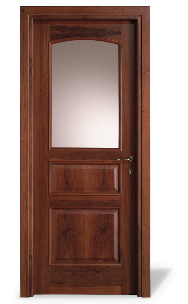Porta interna 3 pannelli centinato noce nazionale - vetro