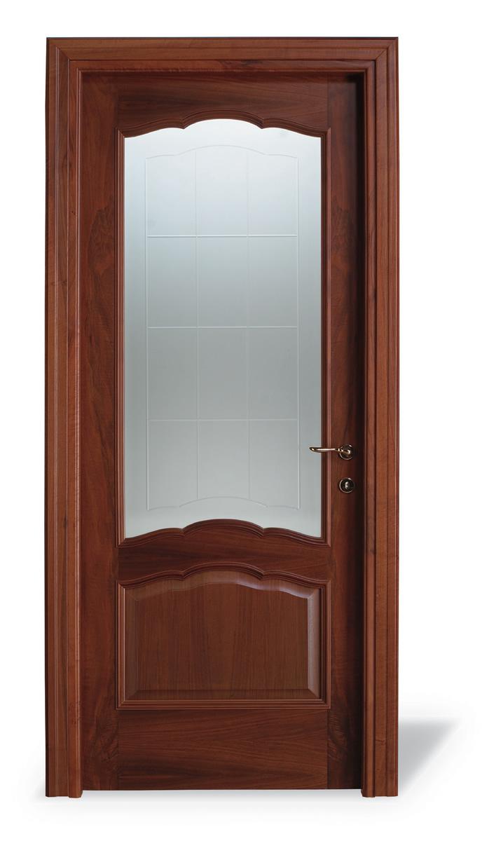 Porta interna Minerva noce nazionale - Vetro