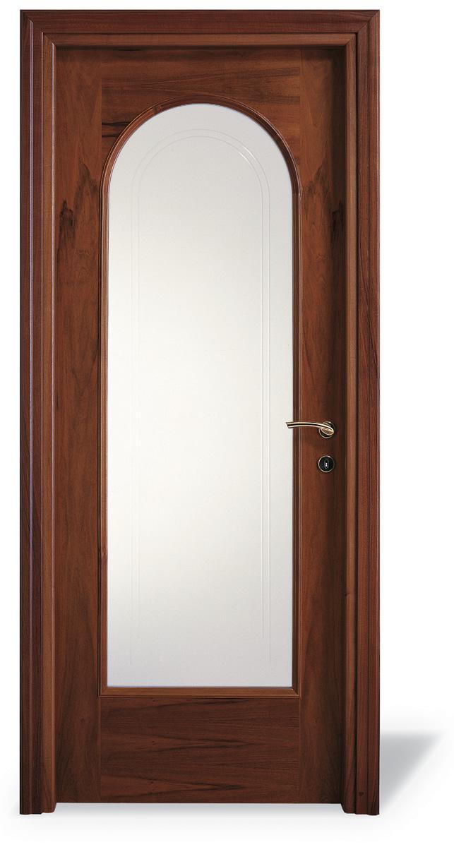 Porta interna H15 tondo noce nazionale - vetro