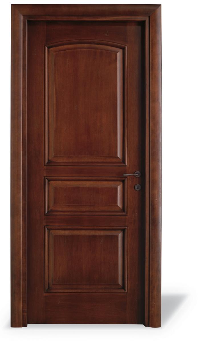 Porta interna 3 pannelli centinato tanganika anticato - Cieca